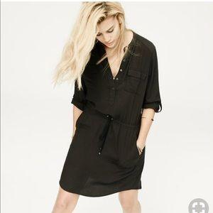 Lou & Grey Black Henley Shirt Dress Size XS